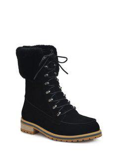 Tie Up Metal Faux Fur Short Boots - Black 38