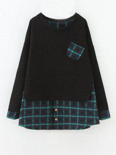 Plus Size Layered Hem Sweatshirt - Black And Green 2xl