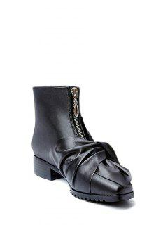 Bow Pointed Toe Zipper Ankle Boots - Black 38