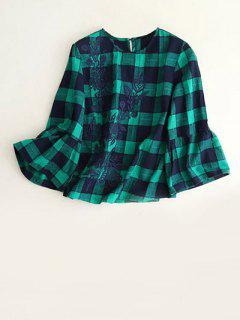 Bell Sleeve Embroidered Checked Blouse - Blue And Green S