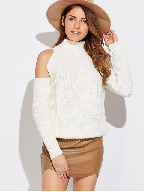 hot Cold Shoulder Funnel Collar Jumper - WHITE ONE SIZE Mobile
