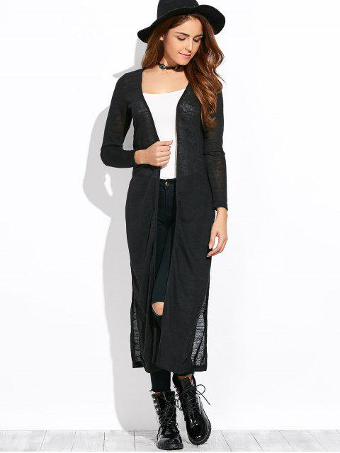 womens Open Stitch Side Slit Duster Cardigan - BLACK S Mobile