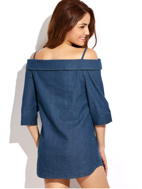 outfit Button Up Off The Shoulder Denim Dress - BLUE 2XL Mobile