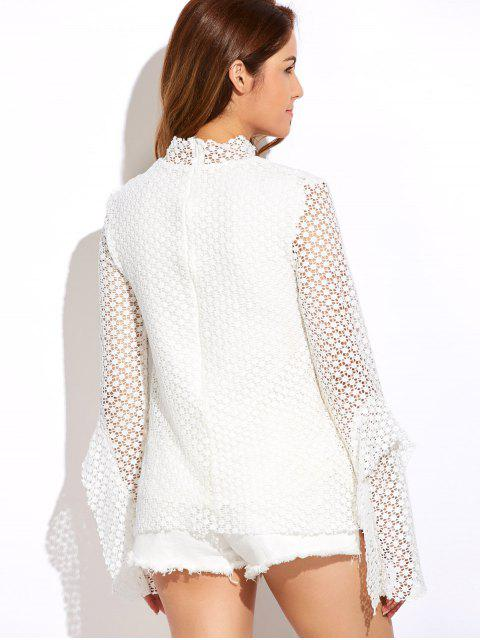 womens Bell Sleeve Hollow Out Blouse - WHITE 2XL Mobile