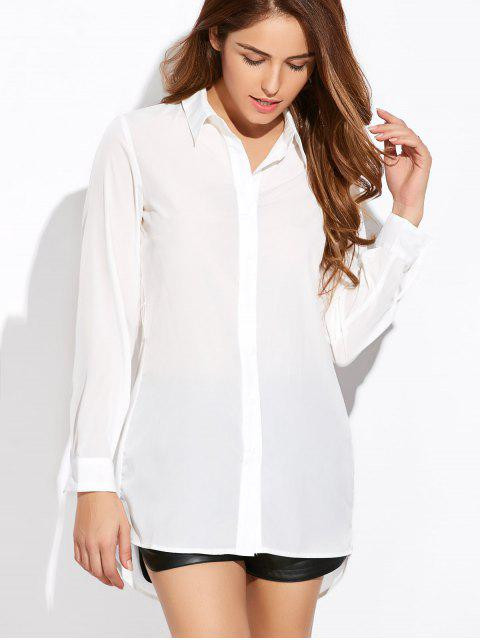 fancy High Low Cut Out Shirt - WHITE 2XL Mobile