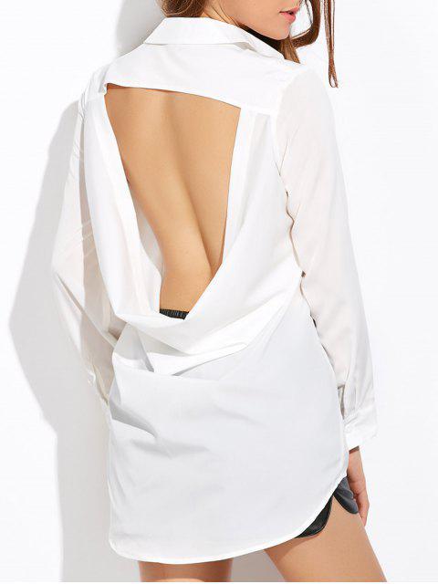 unique High Low Cut Out Shirt - WHITE XL Mobile