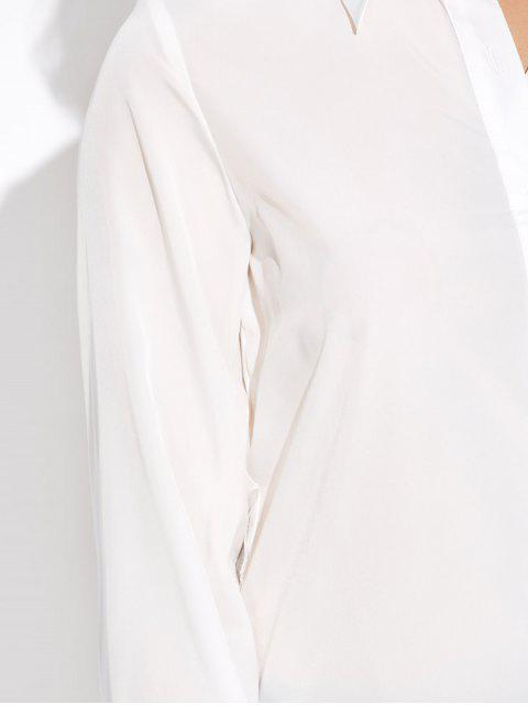 affordable High Low Cut Out Shirt - WHITE M Mobile