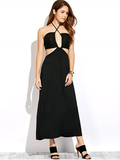 online Twist Halter Cut Out Maxi Dress - BLACK XL Mobile
