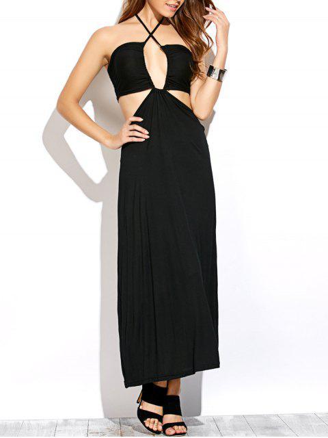 hot Twist Halter Cut Out Maxi Dress - BLACK M Mobile