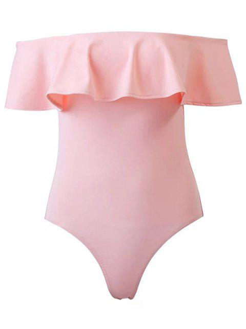 outfits Ruffles Off The Shoulder Bodysuit - PINK L Mobile