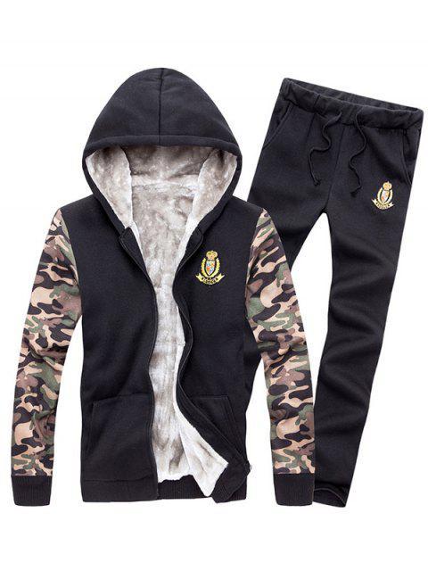 Ensemble Jumeau: Capuche zippée à manches de camouflage et Pantalon - Noir XL Mobile