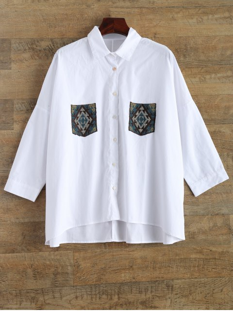 unique Embroidery Oversized Shirt With Pockets - WHITE S Mobile