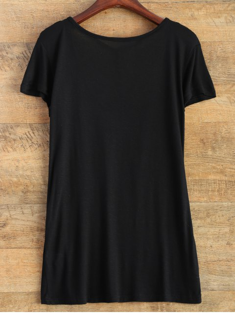chic Strap Front Basic Tee - BLACK S Mobile