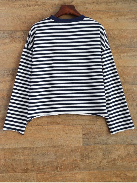 womens Cartoon Striped Tee - WHITE AND BLACK XL Mobile