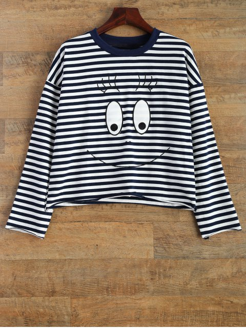 ladies Cartoon Striped Tee - WHITE AND BLACK S Mobile