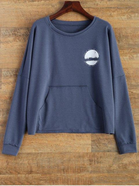shop Loose Streetwear Sweatshirt - BLUE S Mobile