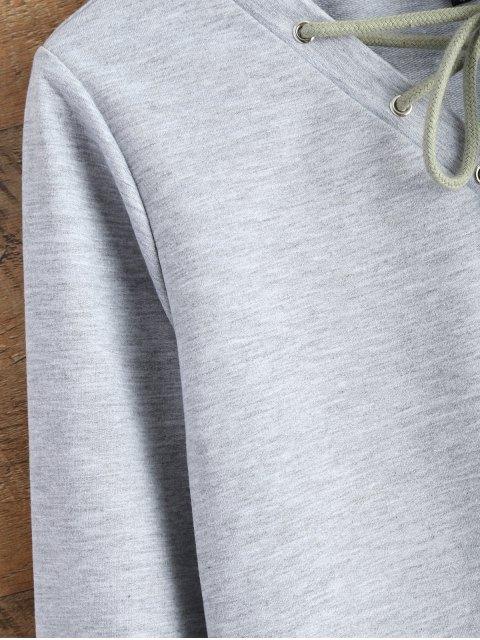 unique Lace Up Cropped Sweatshirt - GRAY XL Mobile