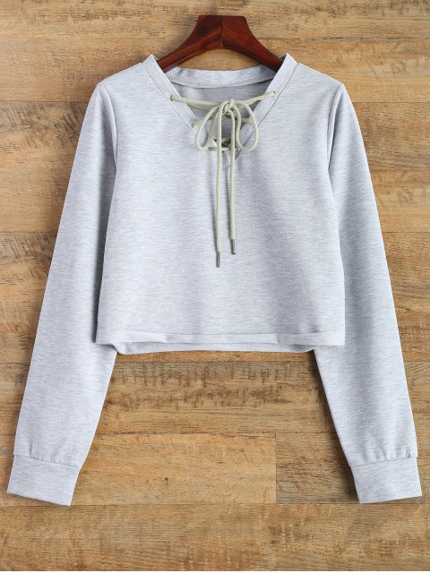 buy Lace Up Cropped Sweatshirt - GRAY S Mobile