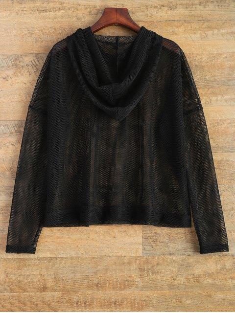 new Hooded Sheer Mesh Top - BLACK XL Mobile