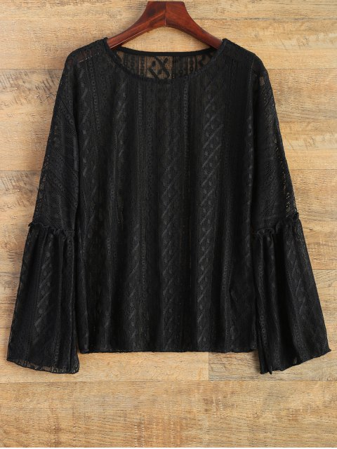 latest Bell Sleeve Sheer Lace Top - BLACK L Mobile