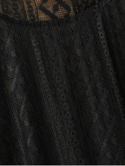 fashion Bell Sleeve Sheer Lace Top - BLACK S Mobile