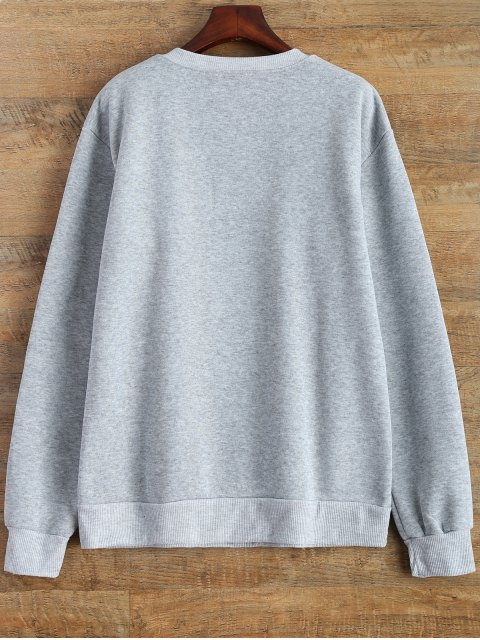 chic Letter Pattern Jewel Neck Sweatshirt - GRAY XL Mobile