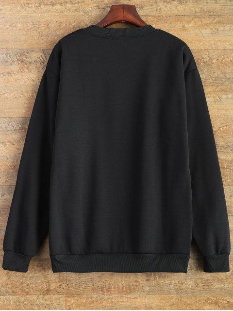 buy Letter Pattern Jewel Neck Sweatshirt - BLACK L Mobile