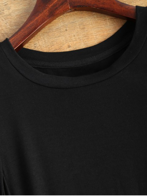 affordable Gloved Sleeve Uneven Hem T-Shirt - BLACK M Mobile