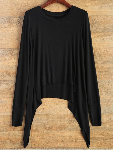 affordable Gloved Sleeve Uneven Hem T-Shirt - BLACK M Mobile