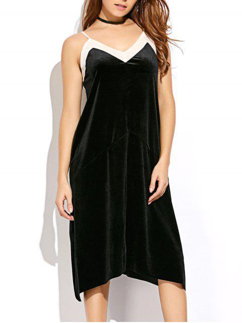 lady Mesh Trim Velvet Cami Dress - BLACK M Mobile
