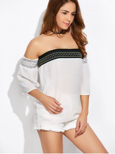 trendy Off Shoulder Tunic Blouse - WHITE L Mobile