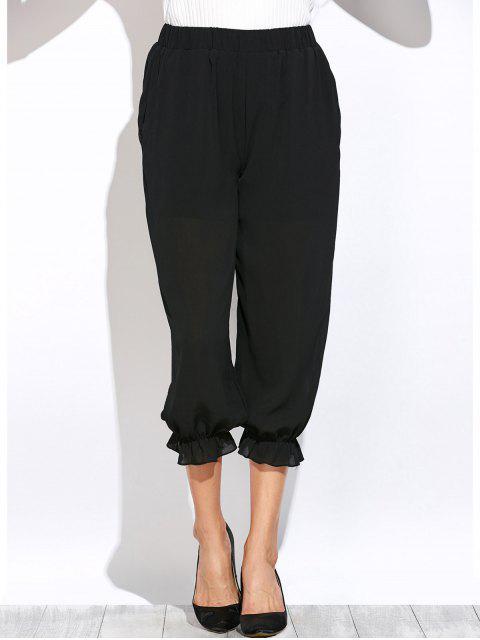 shop See Through Lantern Pants - BLACK M Mobile
