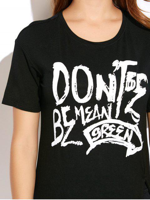 ladies High Slit Graphic Long T-Shirt - BLACK XL Mobile