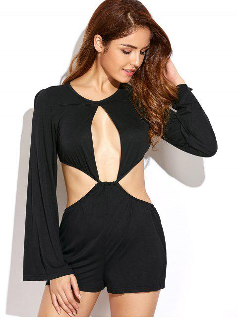 online Flare Sleeve Cut Out Romper - BLACK M Mobile