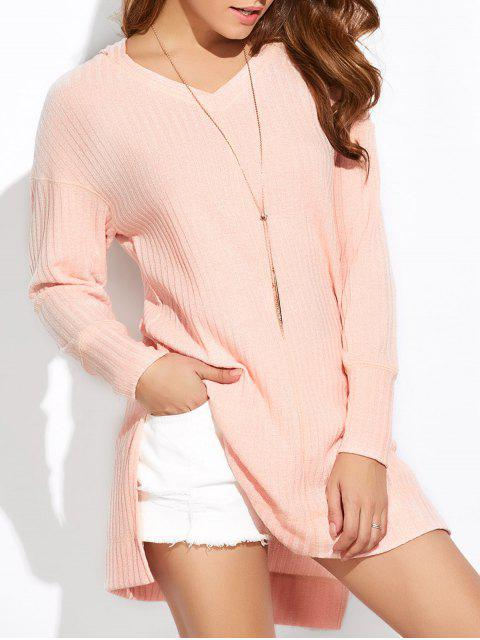 lady Side Slit Long Hoodie - PINK L Mobile