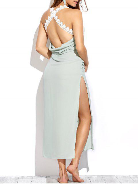 fancy Draped Open Back Prom Dress - LIGHT GREEN L Mobile