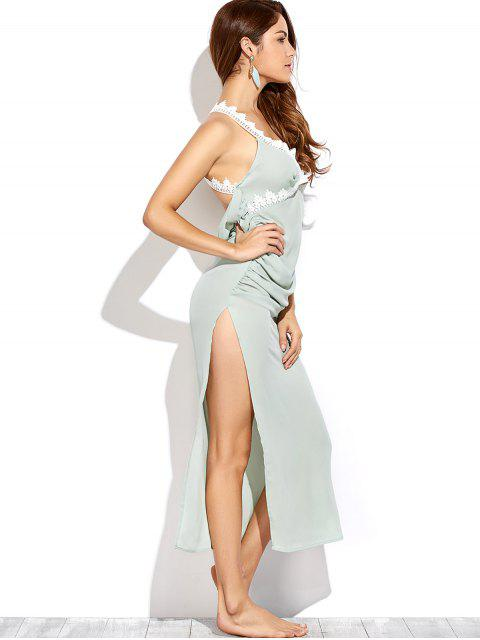 chic Draped Open Back Prom Dress - LIGHT GREEN XL Mobile