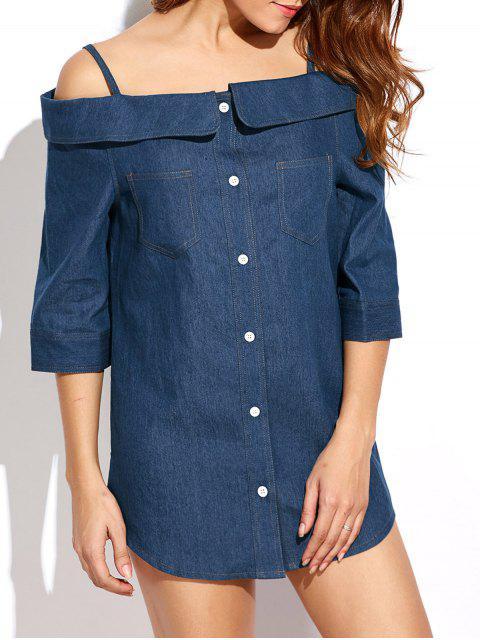 shop Button Up Off The Shoulder Denim Dress - BLUE L Mobile