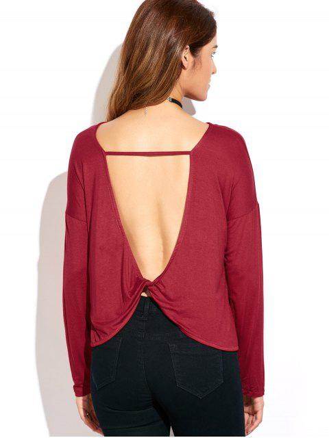 T-shirt au dos ouvert à licol croisé avec manches longues - Rouge S Mobile