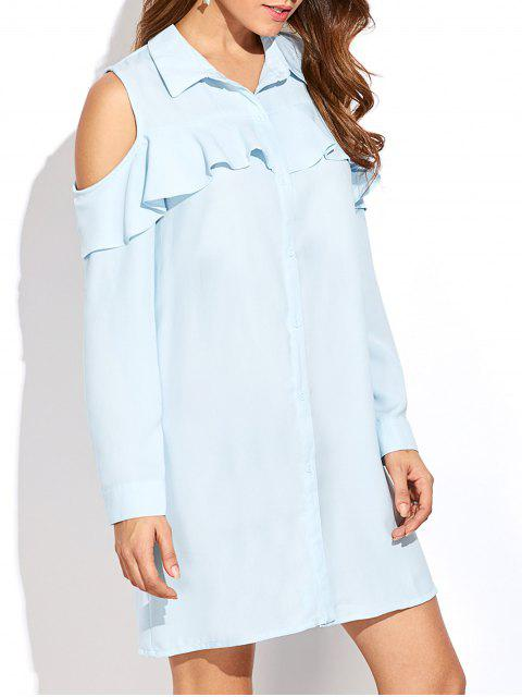 outfits Cold Shoulder Ruffled Shirt Dress - LIGHT BLUE M Mobile