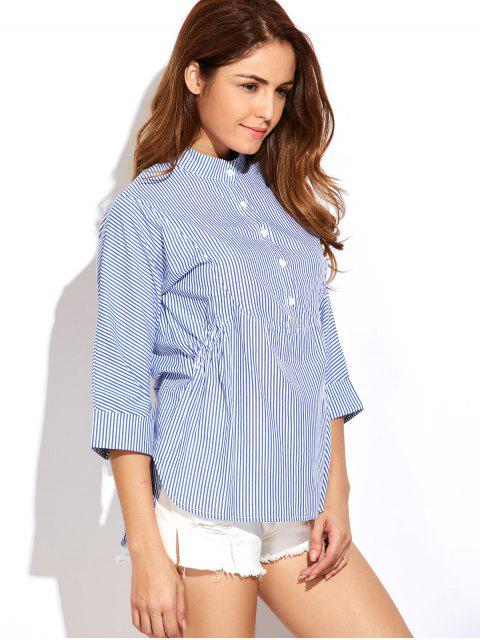 outfit Striped Buttoned Oversized Blouse - BLUE AND WHITE XL Mobile