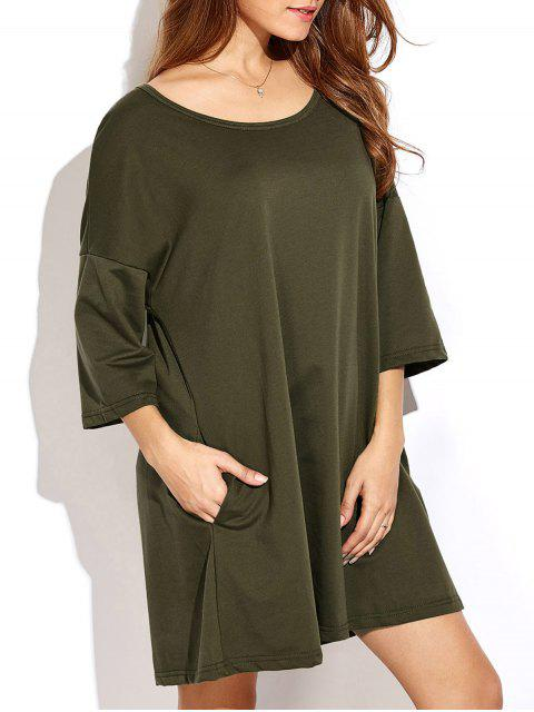 womens Dropped Shoulder Relaxed Tunic Dress - ARMY GREEN 2XL Mobile