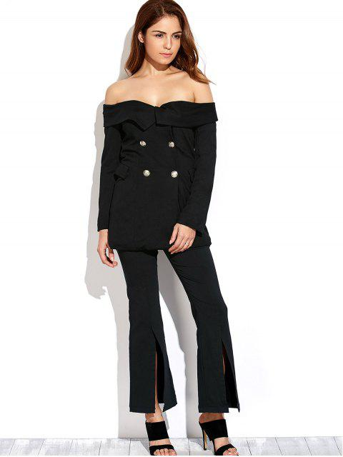 buy Double Breasted Off The Shoulder Blazer - CADETBLUE XL Mobile