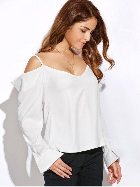 trendy V Neck Cold Shoulder Long Sleeves Top - WHITE L Mobile