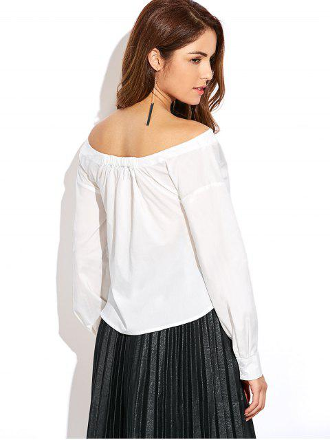 trendy Off The Shoulder Button Up Blouse - WHITE XL Mobile