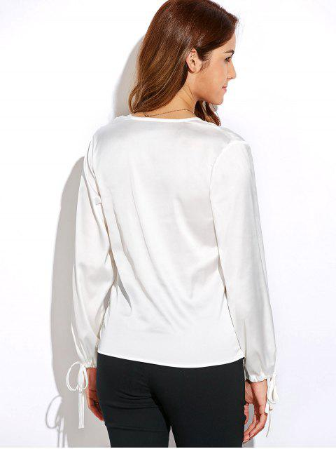 buy Crossover Long Sleeve Chiffon Top - WHITE M Mobile