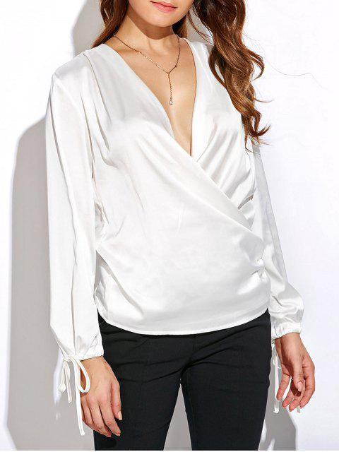 sale Crossover Long Sleeve Chiffon Top - WHITE XL Mobile