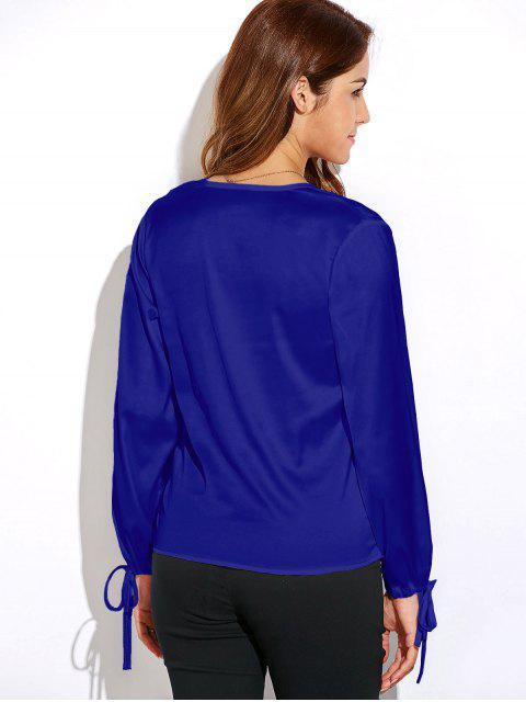 women Crossover Long Sleeve Chiffon Top - BLUE 2XL Mobile
