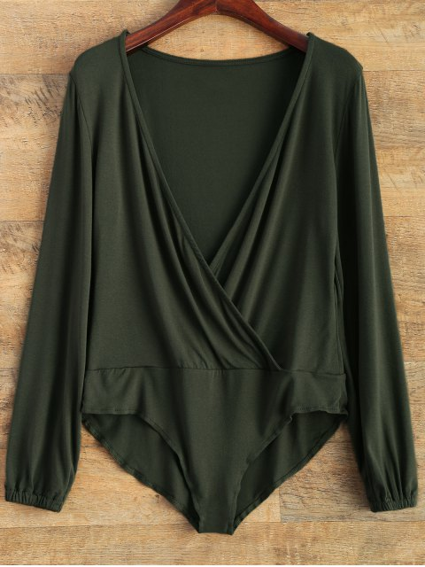 chic Plunging Neckline Bodysuit - BLACKISH GREEN L Mobile