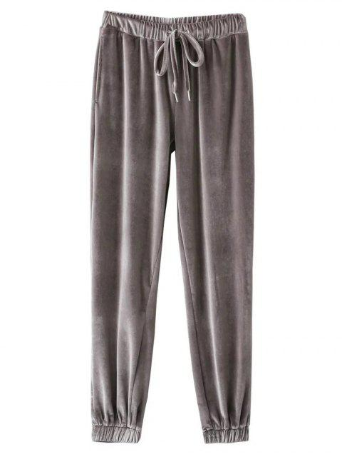 buy Velour Drawstring Sweatpants - GRAY L Mobile